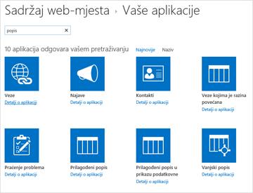 Slika sadržaja web-mjesta je dodavanje aplikacije