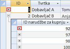prikaz podređene podatkovne tablice