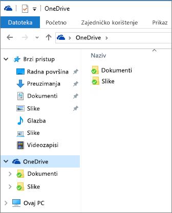 OneDrive u eksploreru za datoteke