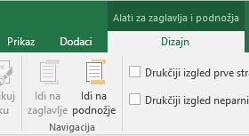 Alatna traka Dizajn u aplikaciji Excel