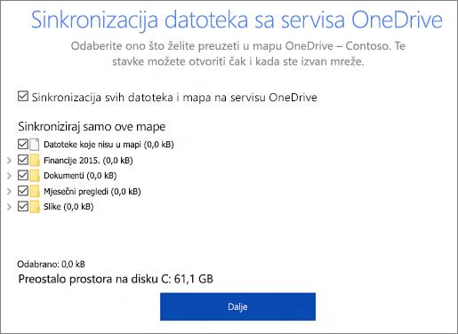 Snimka zaslona na kojoj se prikazuje dijaloški okvir Sinkronizacija datoteka sa servisa OneDrive