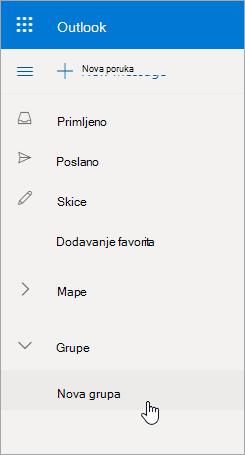 Novo mjesto grupe na Outlook.com popisu mapa