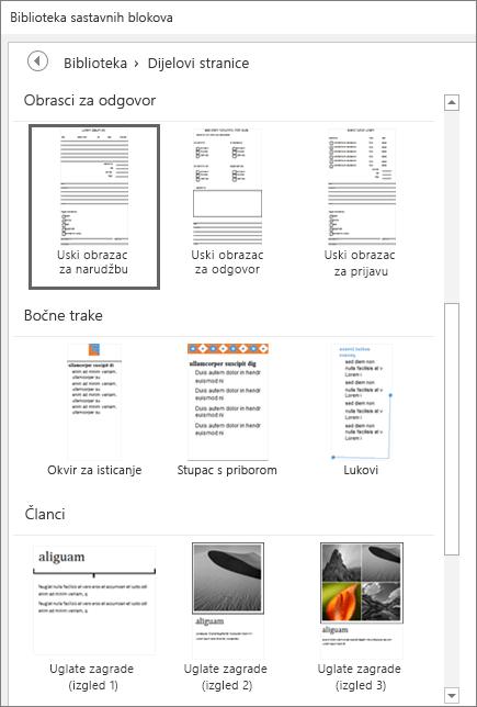 Snimka zaslona na kojoj se prikazuje dio prozora biblioteke sastavnih dijelova s prikazanim minijaturama u kategoriji Dijelovi stranice.