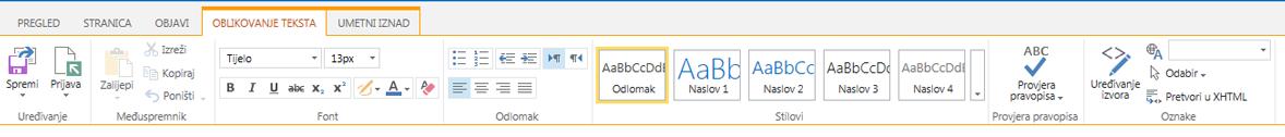 Snimka zaslona s karticom Oblikovanje teksta koja sadrži brojne gumbe namijenjene oblikovanju