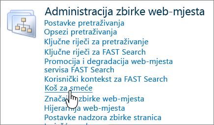 Odjeljak administrator zbirke web-mjesta za SharePoint 2010 s koša za istaknuto