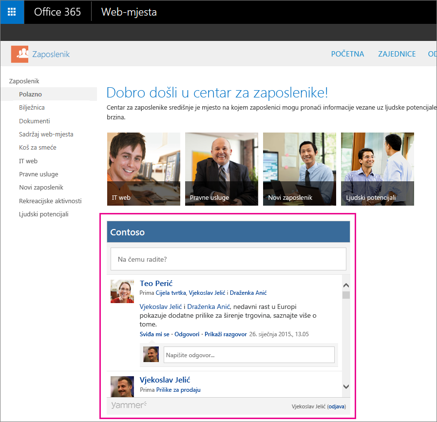 Moj sažetak sadržaja servisa Yammer ugrađen u stranicu sustava SharePoint