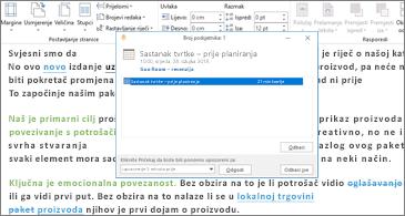 Dokument programa Word s dijaloškim okvirom Podsjetnik iznad njega