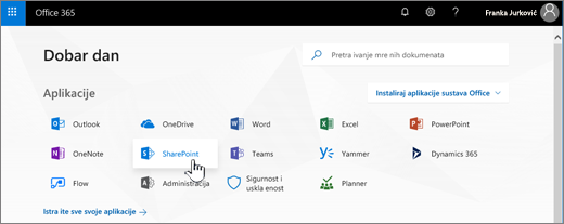 Početna stranica za Office 365 s istaknutim ikonama razmjene
