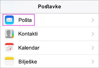 Postavke audiouređaja > pošta