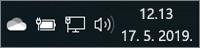 Bijela ikona servisa OneDrive u paleti sustava