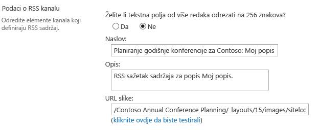 Informacije o RSS kanalu