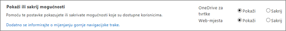 Odjeljak mogućnosti Pokaži/sakrij SPO postavke sustava SharePoint