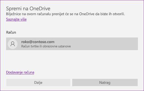 Snimka zaslona upita o spremanju na OneDrive u programu OneNote