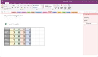 Snimka zaslona bilježnice programa OneNote 2016 s ugrađenom proračunskom tablicom programa Excel.