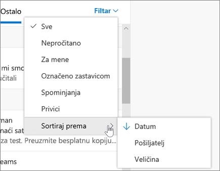 Filtriranje e-pošte u programu Outlook na webu