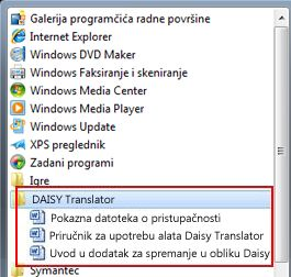Izbornik Start na kojem se nakon instalacije pojavljuju datoteke alata Daisy