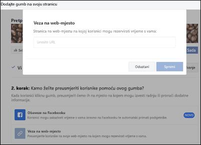 Snimka zaslona: Zalijepite URL stranice za rezervacija