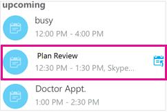 Zaslon s nadolazećim sastancima i jednim istaknutim sastankom