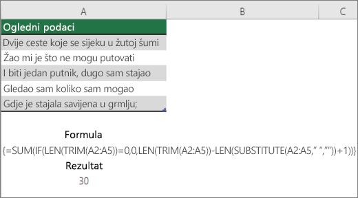 Primjer ugniježđene formule za brojanje riječi