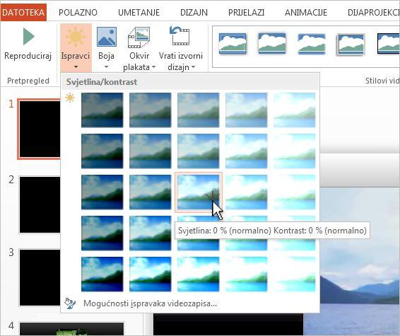 Prilagodba svjetline i kontrasta videozapisa