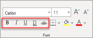 Odjeljak Font na kartici Polazno s istaknutim efektima.