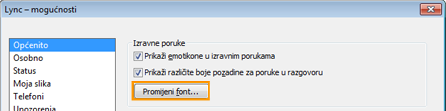 Promjena fonta izravne poruke