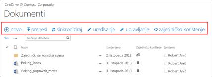 Pomoću trake za brze naredbe u sustavu Office 365 pokrenite radnje u biblioteci dokumenata na servisu OneDrive za tvrtke ili timskom web-mjestu sustava SharePoint Online.