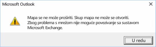 Pogreška programa Outlook 2016 – mapu nije moguće proširiti