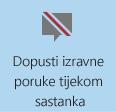 Snimka zaslona s gumbom Nema izravnih poruka na sastanku