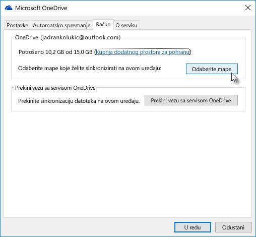 Odabir mapa za selektivnu sinkronizaciju servisa OneDrive