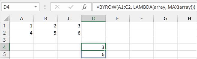 Primjer funkcije First BYROW