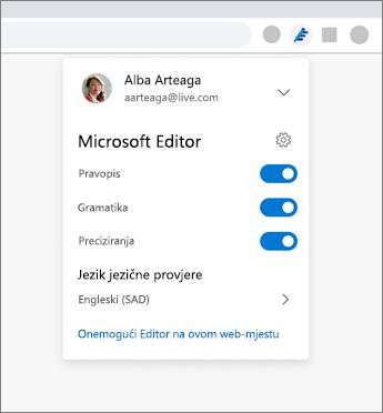 Proširenje Microsoftova uređivača prikazuje padajući popis iz preglednika s postavkama za uključivanje i isključivanje mogućnosti prijenosa
