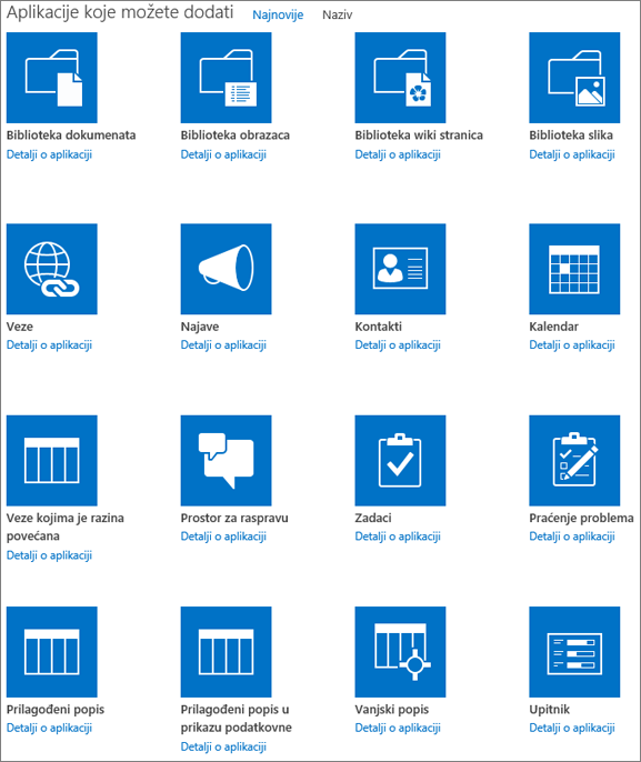 Snimka zaslona na kojoj se prikazuje prvi zaslon stranice Vaše aplikacije.
