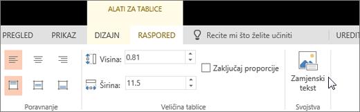 Snimka zaslona s prikazom kartice raspored alata za tablice s pokazivačem koji pokazuje na mogućnost Zamjenski tekst.