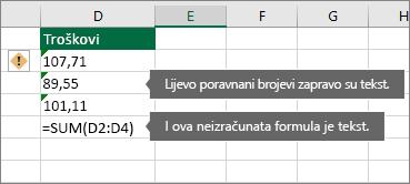 Ćelije s brojkama pohranjenim kao tekst sa zelenim trokutićima