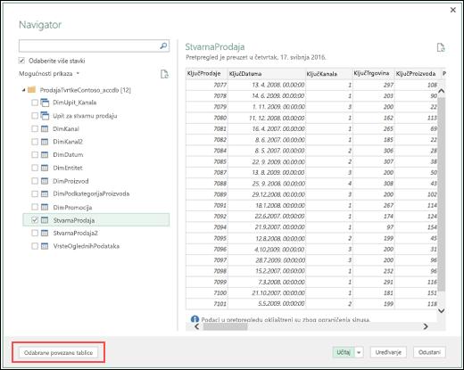 """Power Query – poboljšan poveznik za bazu podataka programa Access – novi gumb Odabir povezanih tablica za """""""" u dijaloškom okviru Navigator"""