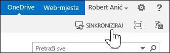Sinkroniziranje servisa OneDrive za tvrtke u sustavu SharePoint 2013
