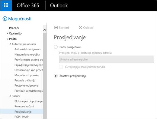 Snimka zaslona prikazuje stranicu s mogućnošću Prosljeđivanje s odabranom mogućnosti Zaustavi prosljeđivanje.