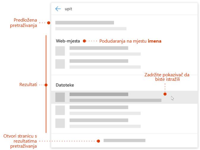 Snimka zaslona okvira za pretraživanje Moderna s pokazivači elementima za istraživanje