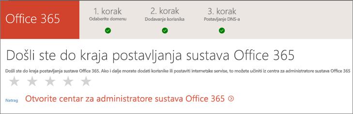 Gotovo! Odaberite centar za administratore sustava Office 365.