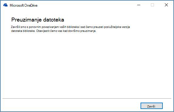 Konačni dijaloški okvir za popravak sinkronizacije servisa OneDrive za tvrtke