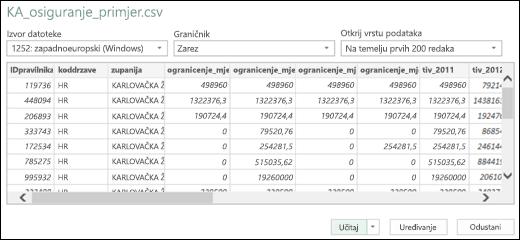 Poboljšani dijaloški okvir poveznika za tekst/CSV dodatka Power BI za Excel