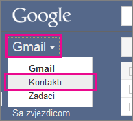 Google Gmail – kliknite Kontakti