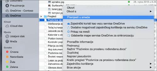 Desnom tipkom miša kliknite odabir na izborniku za brisanje datoteke sa servisa OneDrive u Finder za Mac