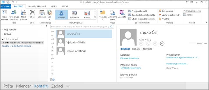 Snimka zaslona s kontaktima s timskog web-mjesta kad se pojave u programu Outlook