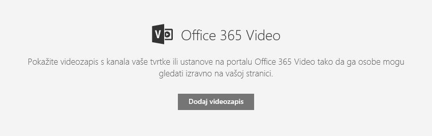 Snimka zaslona dijaloškog okvira za dodavanje videozapisa u sustavu Office 365 u sustavu SharePoint.