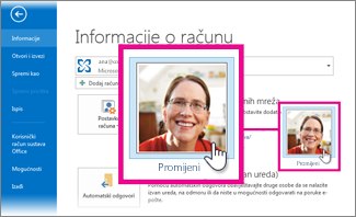 promjena vlastite slike za office iz programa outlook