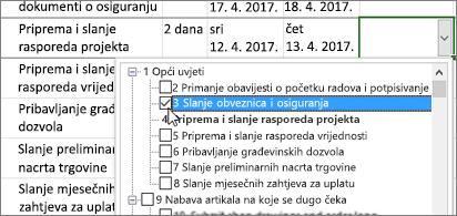Plan projekta s padajućim izbornikom koji sadrži zadatke