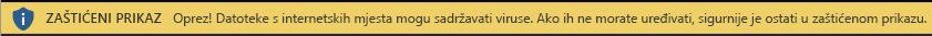 Zaštićeni prikaz za dokumente s interneta