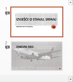 Simboli s brojevima naznačuju prisutnost komentara na slajdovima